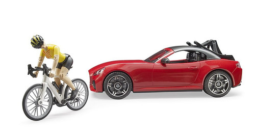 Bruder Roadster Car with Road Bike & Cyclist (3485)