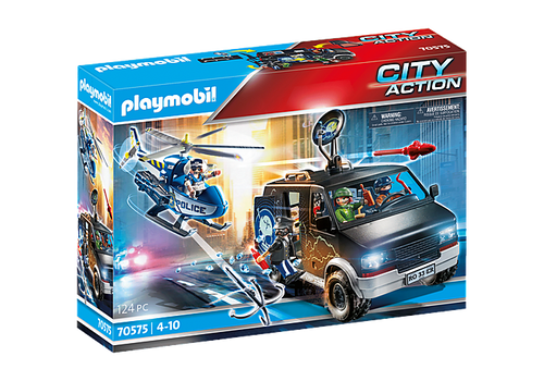 Playmobil Helicopter Pursuit with Runaway Van (70575)