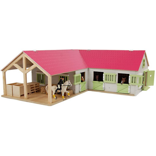 Kids Globe Horse Stable with 3 Stalls and Wash Area 1:24 Scale (0210)