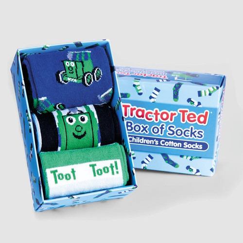 Tractor Ted Box of Socks (3 Pairs), Blue