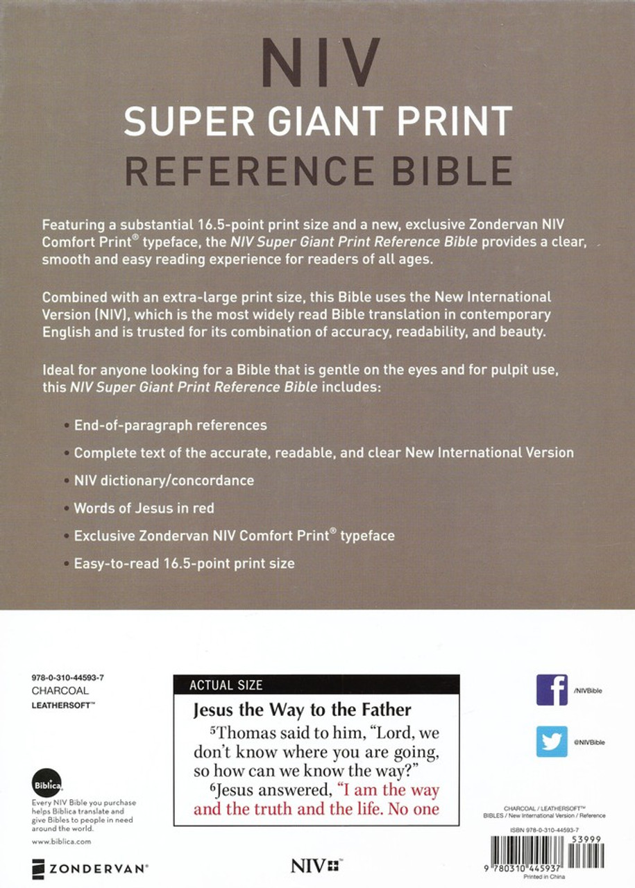 NIV Super Giant Print Reference Bible Comfort Print - Charcoal leathersoft,  Dictionary/Concordance  Words of Christ in red letters