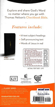 KJV Checkbook Bible black bonded leather 18.5 cm x 9.5 cm x 2.5 cm,