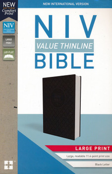 NIV Value Thinline Bible in Large Print CHARCOAL/BLACK Leathersoft