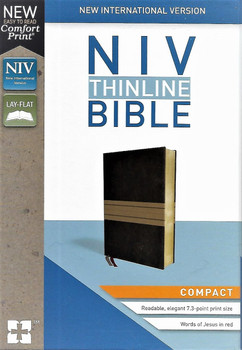 NIV Thinline, Compact(Comfort Print) CHOCOLATE/TAN Leathersoft