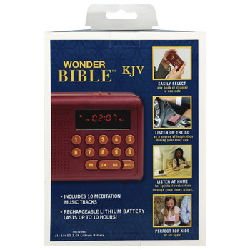 Wonder Bible  Audio Bible (KJV), rechargeable with USB cable, comes with USB jack and a rechargeable 18650 lithium-ion battery.
