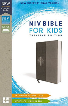 NIV  Bible for Kids(Ages 8-12)  Thinline Edition  in Comfort Print Gray Leathersoft