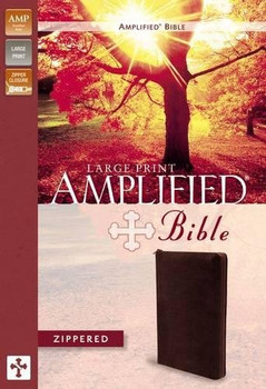Amplified Zippered Bible, Large Print in Burgundy Bonded Leather  by Zondervan Bibles