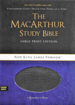 NKJV The MacArthur Study Bible(Signature Series) Large Print, BLACK Bonded Leather, Indexed