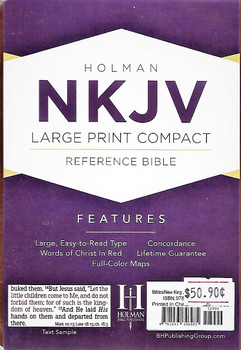NKJV Large Print Compact Reference Bible, Brown Cross LeatherTouch, Indexed (Leather / fine binding)