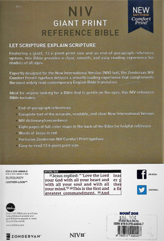 NIV Giant Print Reference Bible with Index, BURGUNDY Leatherlook