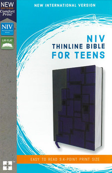 NIV Thinline Bible For Teens (Comfort Print), Charcoal-Navy Leathersoft