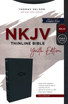 NKJV Thinline Bible Youth Edition(Comfort Print), GRAY Leathersoft