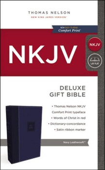NKJV Deluxe Gift Bible(Comfort Print), NAVY Leathersoft