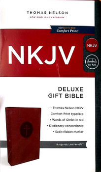 NKJV Deluxe Gift Bible(Comfort Print), BURGUNDY Leathersoft