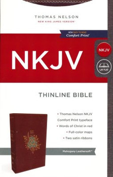 NKJV Thinline Bible(Comfort Print), MAHAGONY Leathersoft