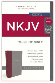 NKJV Thinline Bible(Comfort Print), BURGUNDY-GRAY Cloth Over Board