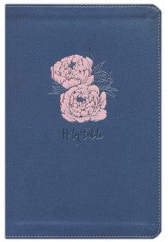 NKJV Large Print Thinline, NAVY w/PINK Flowers Leathersoft, 10.5pt Red Letter