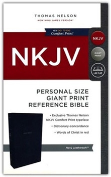 NKJV Personal Size Giant Print Reference Bible(Comfort Print), NAVY LeatherSoft