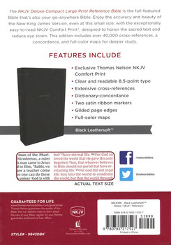 NKJV Deluxe Compact Large Print Reference Bible(Comfort Print), BLACK Leathersoft