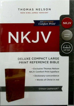NKJV Deluxe Compact Large Print Reference Bible(Comfort Print), CRIMSON Leathersoft