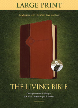 TLB Living Bible/Large Print Indexed - Brown/Tan TuTone