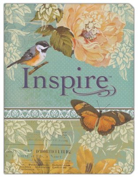 NLT Inspire: The Bible for Creative Journaling, LeatherLike, Silky Vintage Blue-Cream
