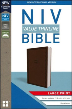 NIV Value Thinline Bible in Large Print CHOCOLATE Leathersoft