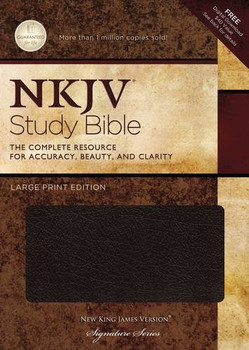 NKJV Study Bible: The Complete Resource for Accuracy, Beauty and Clarity (Large Print Edition).  Thumb Indexed in Black Bonded Leather.