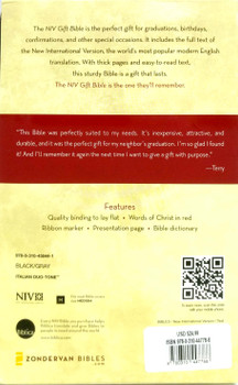 NIV GIFT Bible - Red Letter Edition with Index, BLACK GRAY Leathersoft