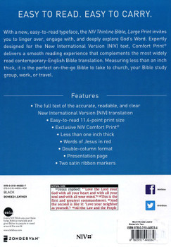 NIV Thinline Bible, Large print, Indexed (Comfort Print). BLACK Bonded Leather