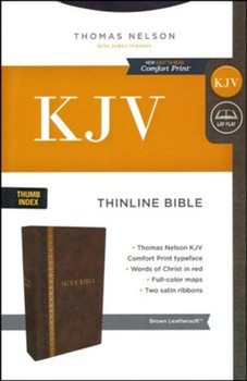 KJV Thinline Bible with Indexed, BROWN Leathersoft, 9pt+ with Red Letter