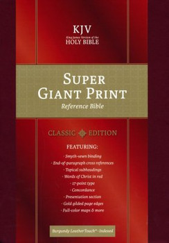KJV Super Giant Print Reference Bible Indexed, BURGUNDY LeatherTouch
