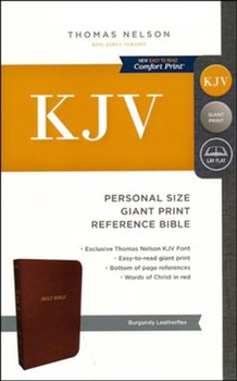 KJV Personal Size Giant Print Reference Bible (Comfort Print), BURGUNDY Leatherflex