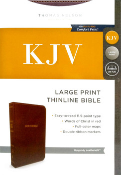 KJV Thinline Bible Large Print, BURGUNDY Leathersoft, 11.5 type with Red Letter