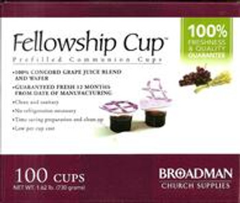 Fellowship Cup (Holy Communion) Prefilled with premium quality Real Grape Juice and Unleavened Bread Wafer (Box of 100 cups). Hygienically packed in single servings in plastic cups. Untouched by human hands. (NEW STOCKS - Use by date: July 30, 2022).
