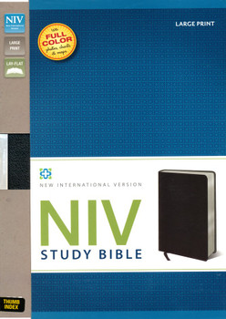 NIV Study Bible, Large Print with Thumb-Indexed, Bonded Leather Black(Color on every page)