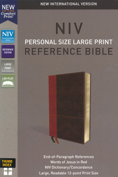 NIV Personal Size Large Print Reference Bible(Comfort Print) with Thumb Index,  TAN/DARK BROWN Leathersoft