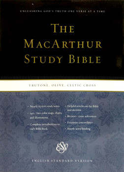 ESV MacArthur Study Bible TruTone OLIVE CELTIC CROSS, Portfolio Design,  Imitation Leather