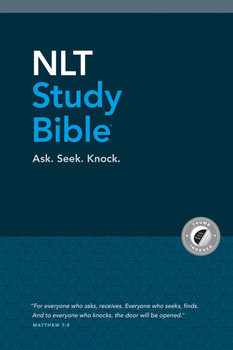 NLT Study Bible, Ask. Seek. Knock. Hardcover cloth-over-board, Indexed