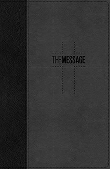 Message DELUXE Gift Bible-Black/Slate LeatherLook