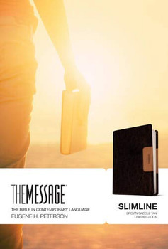 Message SLIMLINE Bible-Brown/Saddle Tan LeatherLook