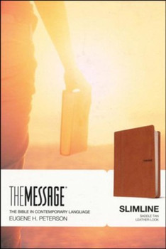 Message SLIMLINE Bible-Saddle Brown LeatherLook