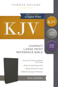 KJV Compact  Large Print Reference Bible with Snapflap, Black Leatherflex