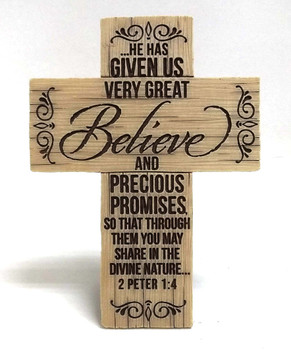 Cast Stone Cross - BELIEVE (2 Peter 1:4) for Wall & Desktop