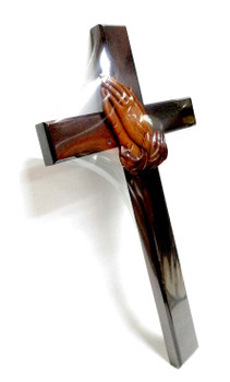 Wall Cross C40P with Prayer Hands, in Mahogany solid wood - 40 x 22.5  x 1.7(cm)