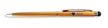 """I Love Jesus"" ball point pen in GOLD finish, with touch screen tip for use on digital devices. 4 pcs for $12 (no box)"