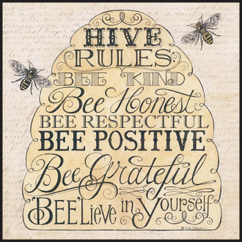 """Wall Plaque - Hive Rules Beelieve in Yourself Beehive (12"""" x 12"""")"""