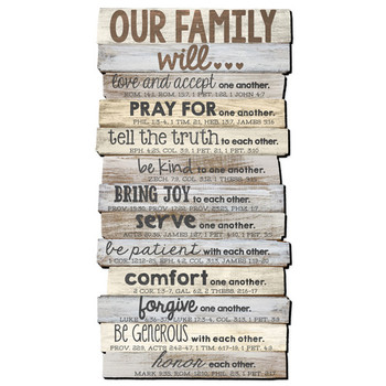 Stacked Word Wall Plaque - Our Family will ... 38W x 73L x 1.5D (cm)