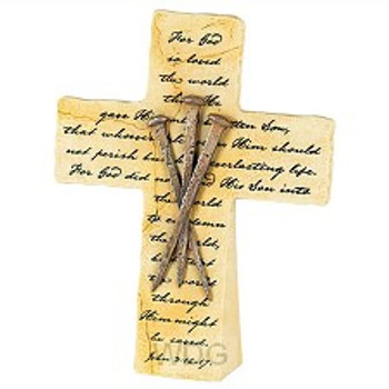 Tabletop Cross(TCR157) - Nails. For God So Loved The World - John 3:16