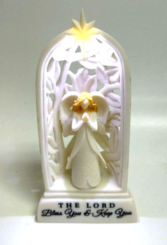 White Angel - The Lord Bless You & Keep You (Figurine with LED light, batteries included)